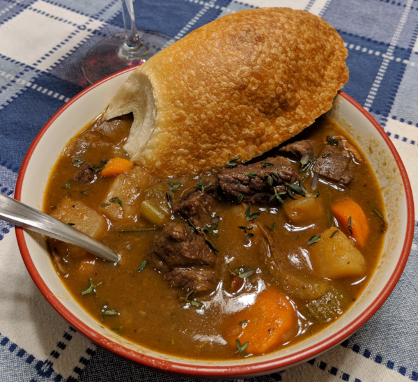 Beef Bourguignon stew in a bowl